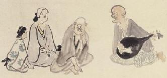圖二:在鉛字文化之前,故事是用傳唱的。例如日本的琵琶法師、歐洲的吟遊詩人。