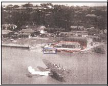 圖1 塩見俊二搭乘的飛行艇「神津號」降落在淡水河上