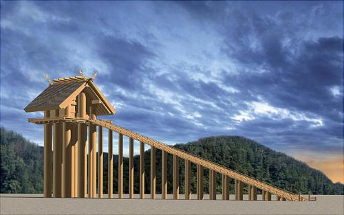 圖一02:從遺跡考據,祭祀大國主命的出雲大社高達48公尺。