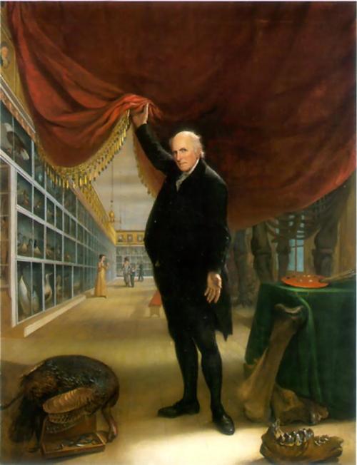圖二:由美國畫家皮爾 (Charles Willson Peale, 1741–1827) 於一八二二年繪製的《在其博物館的藝術家》(The Artist in His Museum)。