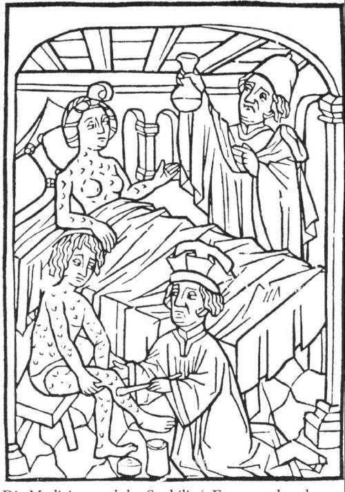 圖4  1498年的梅毒患者與治療。右上方那位先生手中拿得可不是燒瓶,而是在體液學說底下尿診學的重要儀器。圖片來源:維基百科。